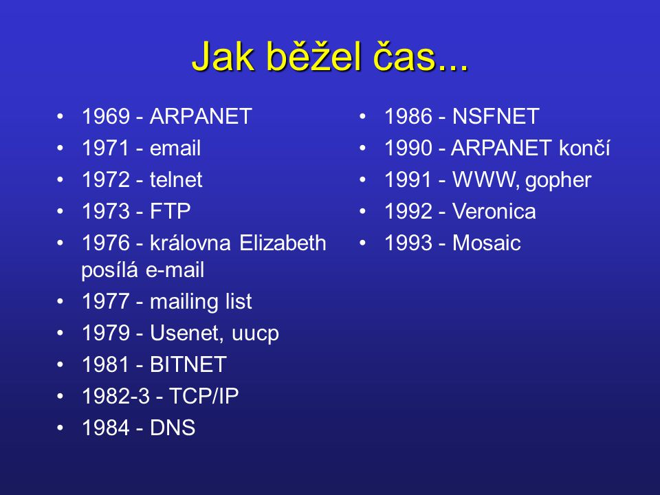 Jak běžel čas... 1969 - ARPANET 1971 - email 1972 - telnet 1973 - FTP