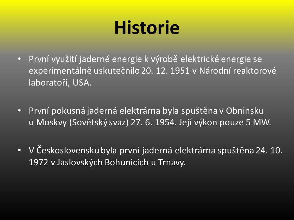 Historie První využití jaderné energie k výrobě elektrické energie se experimentálně uskutečnilo 20. 12. 1951 v Národní reaktorové laboratoři, USA.