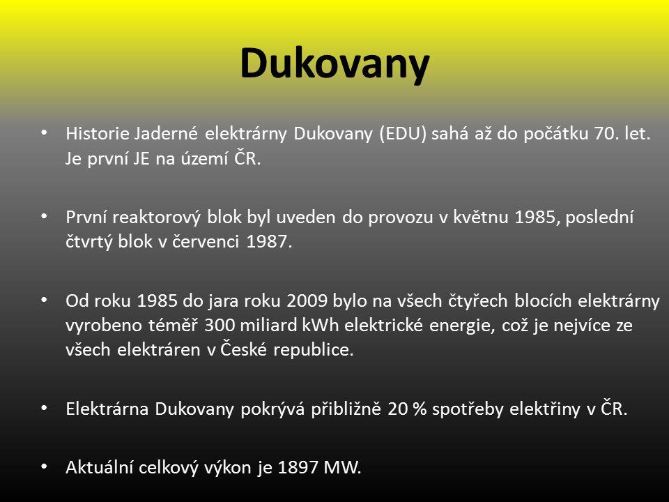 Dukovany Historie Jaderné elektrárny Dukovany (EDU) sahá až do počátku 70. let. Je první JE na území ČR.