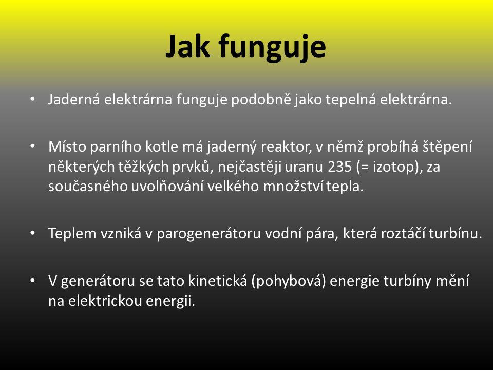 Jak funguje Jaderná elektrárna funguje podobně jako tepelná elektrárna.