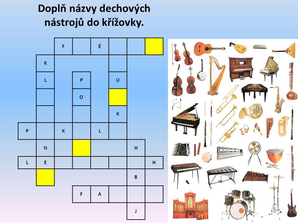Doplň názvy dechových nástrojů do křížovky.