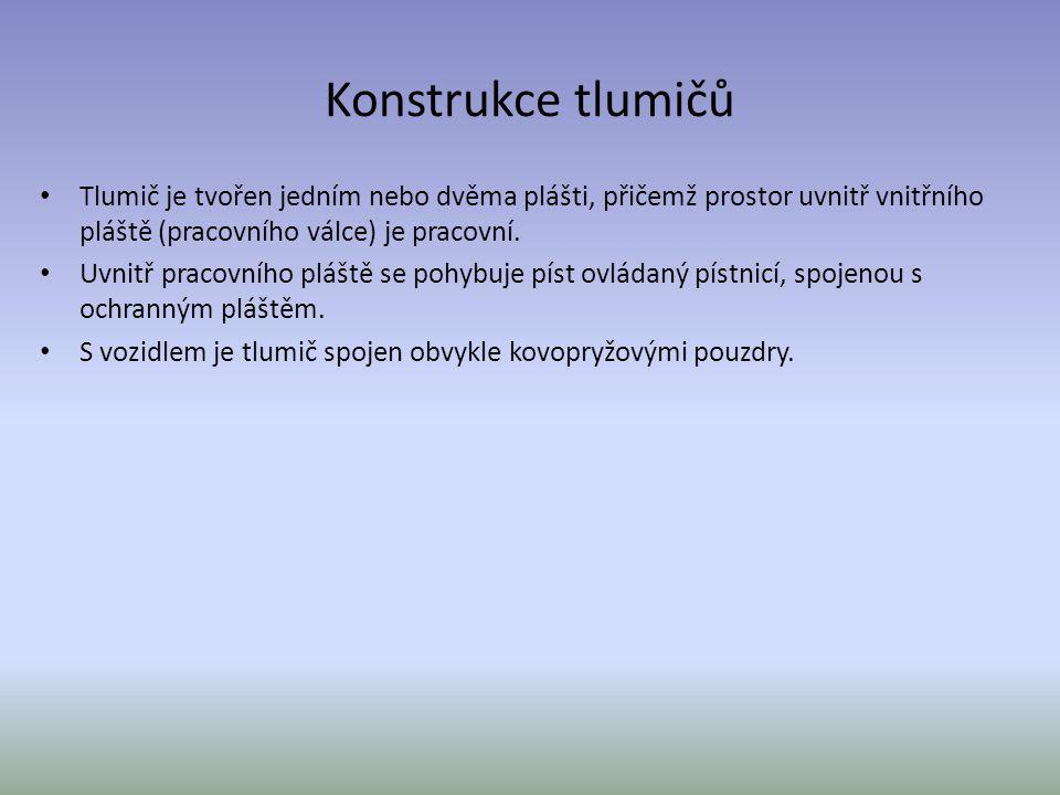 Konstrukce tlumičů Tlumič je tvořen jedním nebo dvěma plášti, přičemž prostor uvnitř vnitřního pláště (pracovního válce) je pracovní.