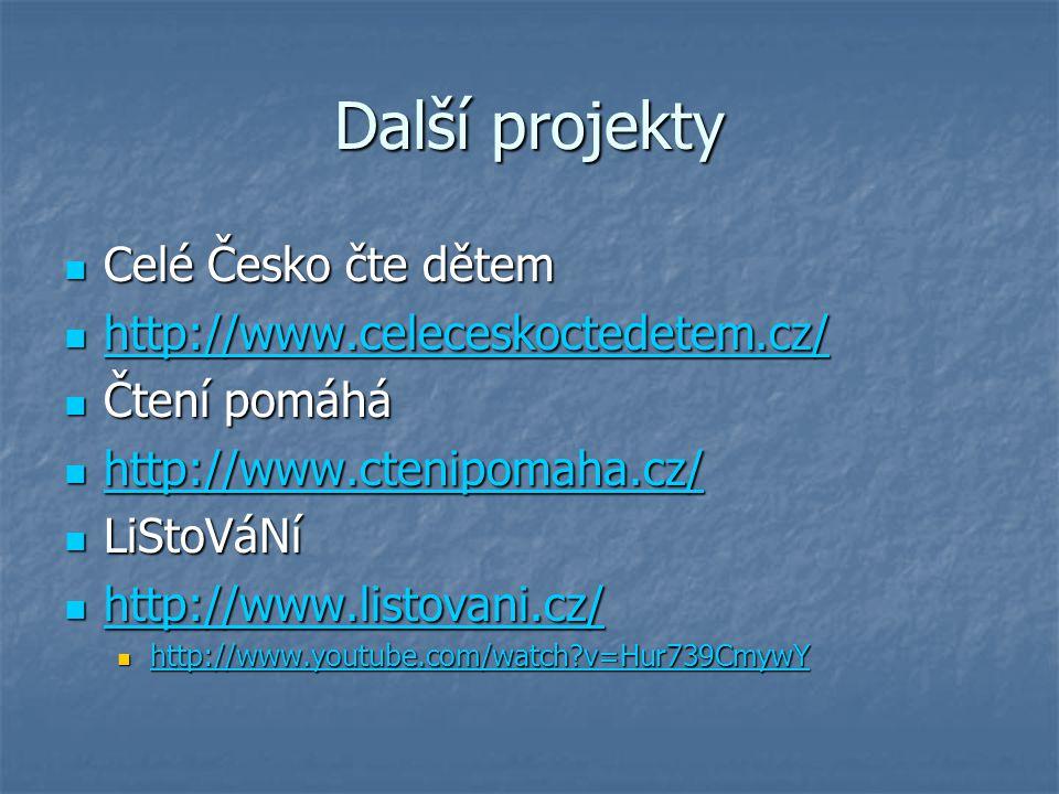 Další projekty Celé Česko čte dětem http://www.celeceskoctedetem.cz/