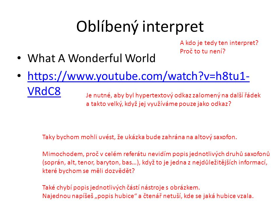 Oblíbený interpret What A Wonderful World