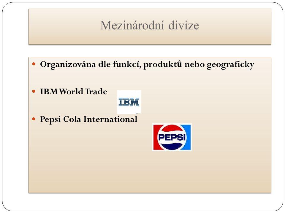Mezinárodní divize Organizována dle funkcí, produktů nebo geograficky