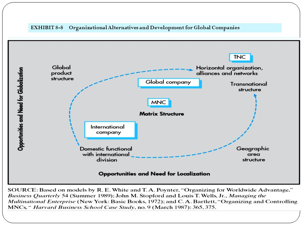 EXHIBIT 8-8 Organizational Alternatives and Development for Global Companies
