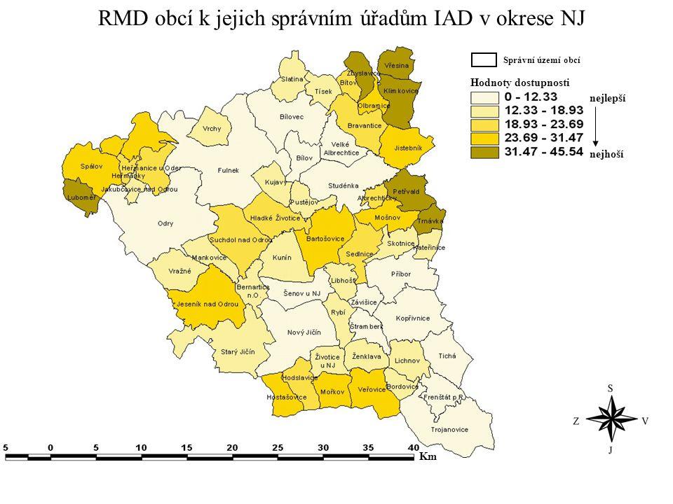 RMD obcí k jejich správním úřadům IAD v okrese NJ