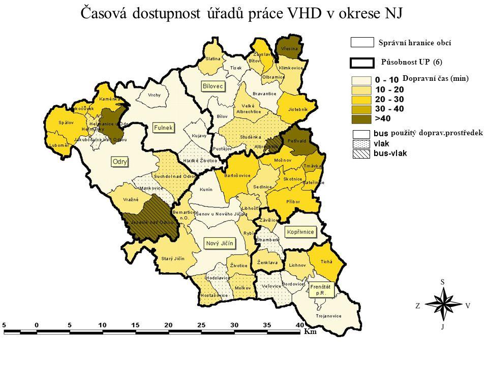 Časová dostupnost úřadů práce VHD v okrese NJ