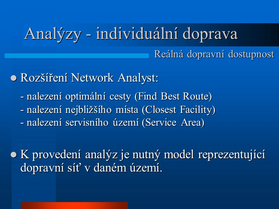 Analýzy - individuální doprava