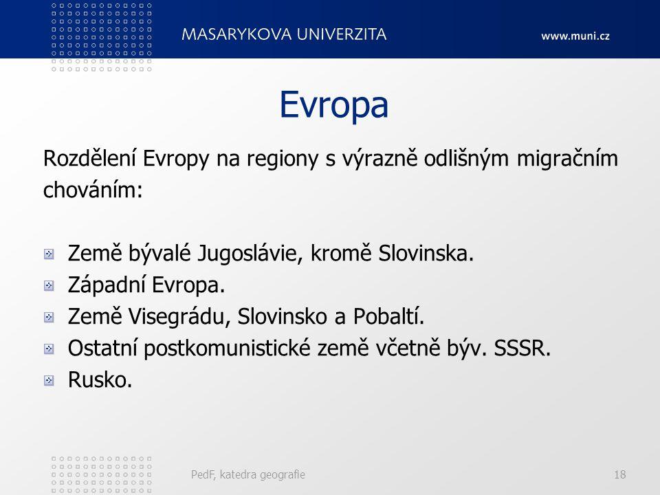 Evropa Rozdělení Evropy na regiony s výrazně odlišným migračním
