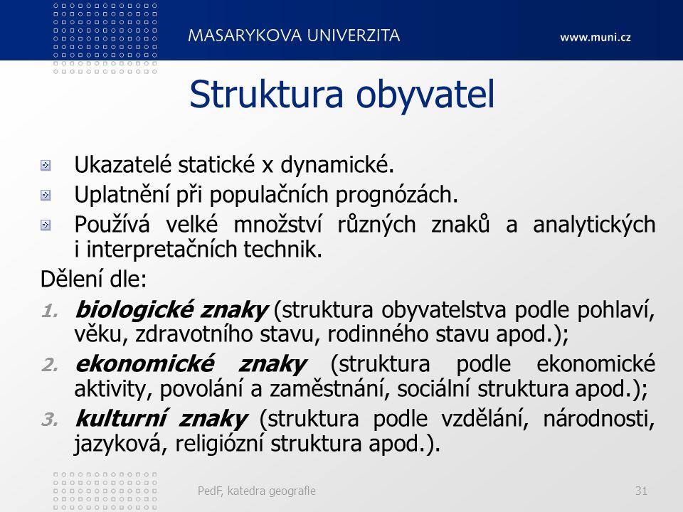 Struktura obyvatel Ukazatelé statické x dynamické.
