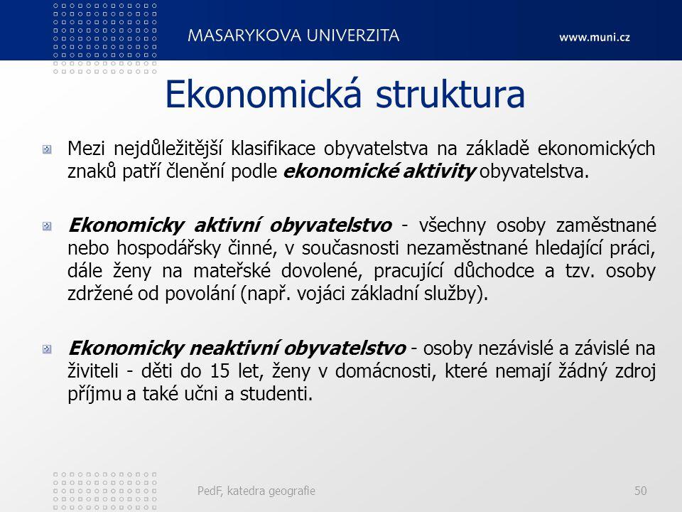 Ekonomická struktura Mezi nejdůležitější klasifikace obyvatelstva na základě ekonomických znaků patří členění podle ekonomické aktivity obyvatelstva.