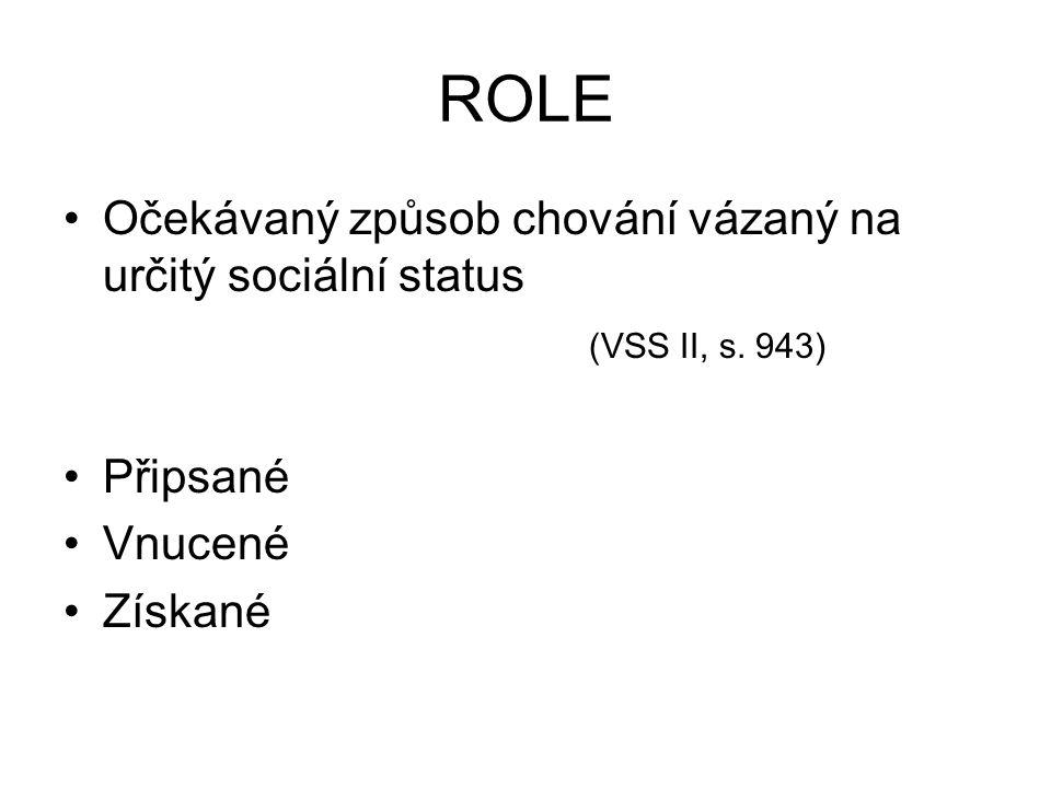 ROLE Očekávaný způsob chování vázaný na určitý sociální status