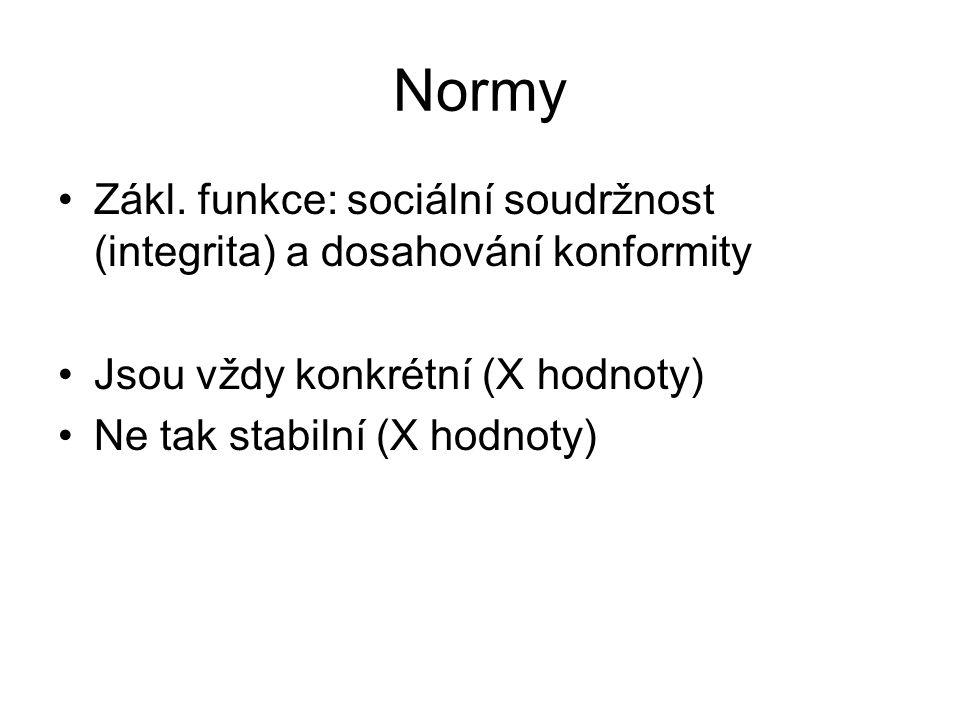 Normy Zákl. funkce: sociální soudržnost (integrita) a dosahování konformity. Jsou vždy konkrétní (X hodnoty)