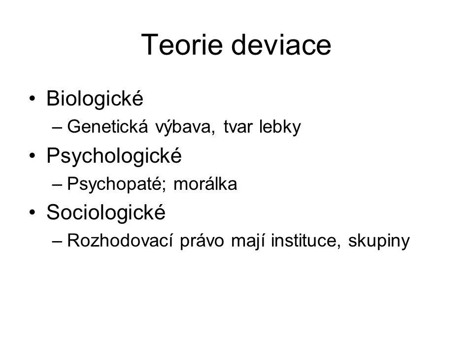 Teorie deviace Biologické Psychologické Sociologické