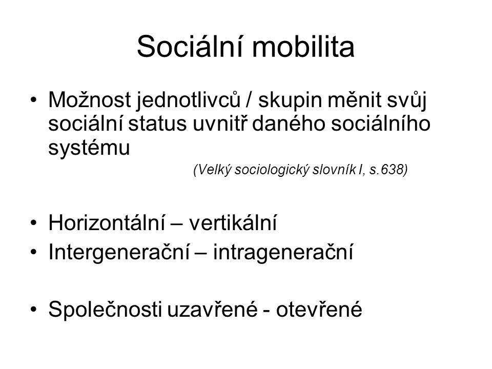Sociální mobilita Možnost jednotlivců / skupin měnit svůj sociální status uvnitř daného sociálního systému.