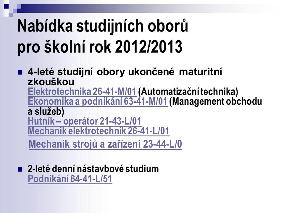 Nabídka studijních oborů pro školní rok 2012/2013