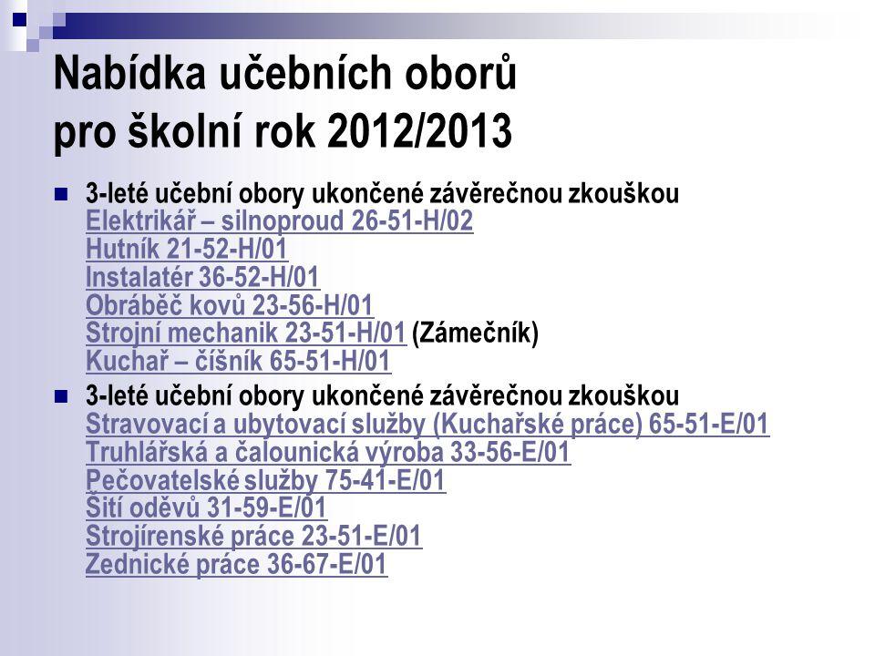 Nabídka učebních oborů pro školní rok 2012/2013