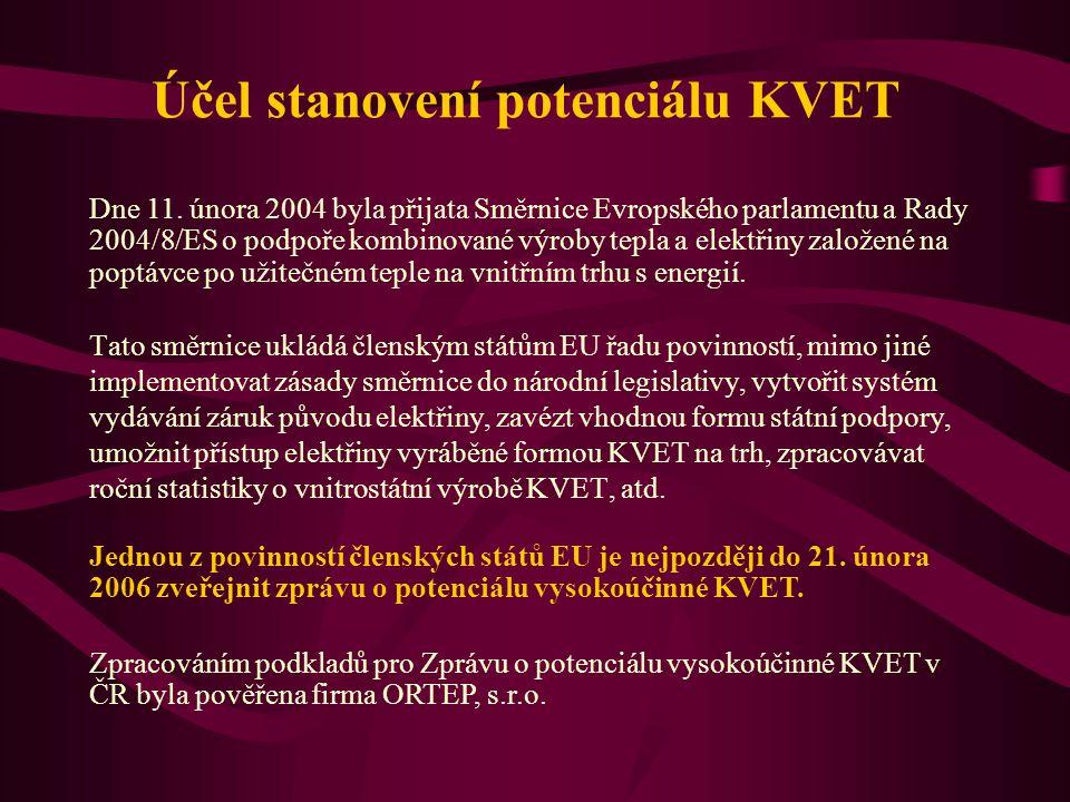 Účel stanovení potenciálu KVET