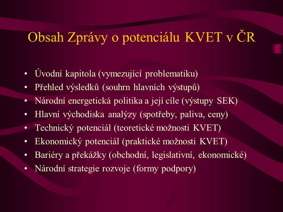 Obsah Zprávy o potenciálu KVET v ČR