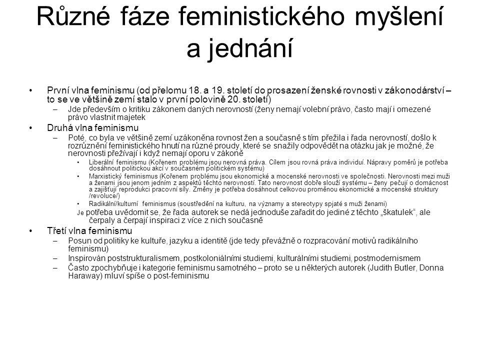Různé fáze feministického myšlení a jednání