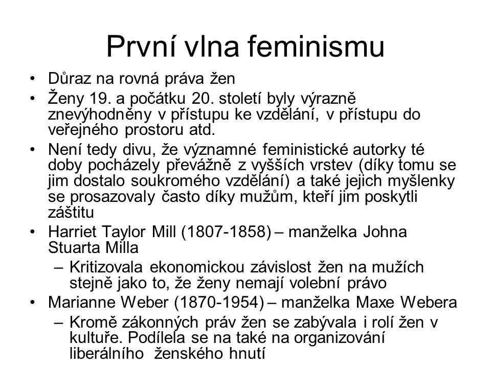 První vlna feminismu Důraz na rovná práva žen