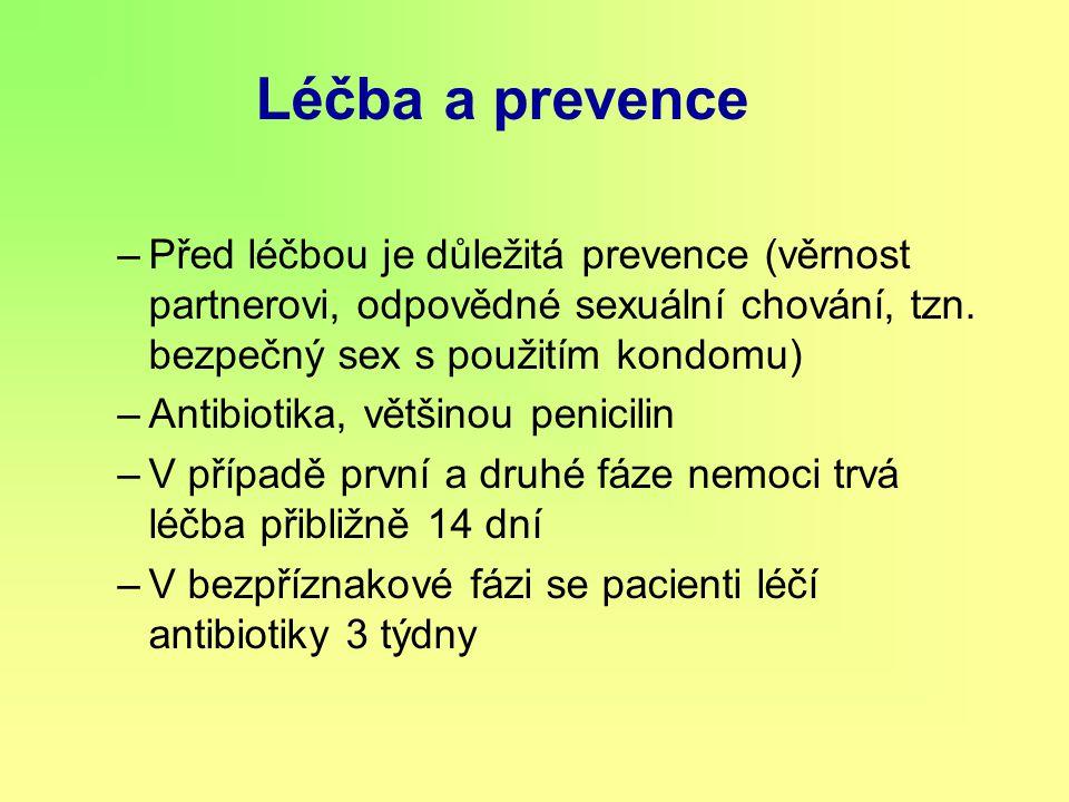 Léčba a prevence Před léčbou je důležitá prevence (věrnost partnerovi, odpovědné sexuální chování, tzn. bezpečný sex s použitím kondomu)