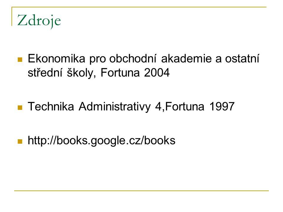 Zdroje Ekonomika pro obchodní akademie a ostatní střední školy, Fortuna 2004. Technika Administrativy 4,Fortuna 1997.