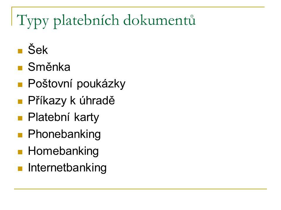 Typy platebních dokumentů