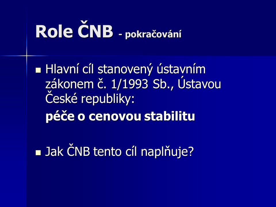 Role ČNB - pokračování Hlavní cíl stanovený ústavním zákonem č. 1/1993 Sb., Ústavou České republiky: