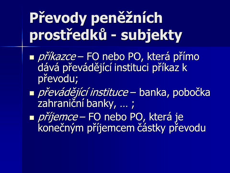 Převody peněžních prostředků - subjekty
