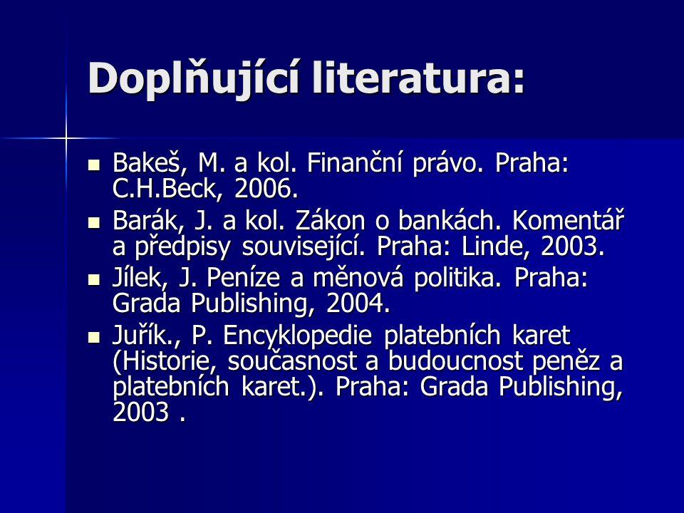 Doplňující literatura: