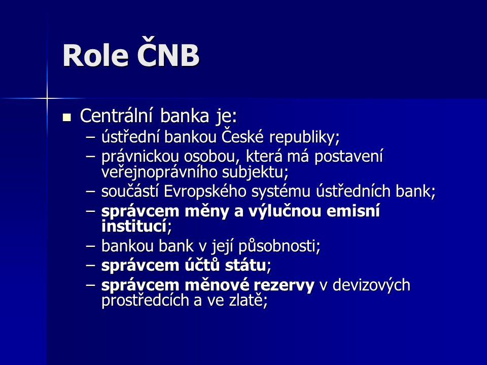 Role ČNB Centrální banka je: ústřední bankou České republiky;
