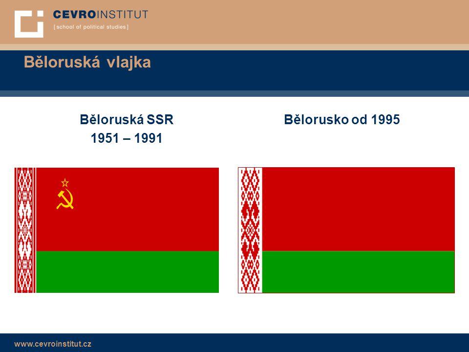 Běloruská vlajka Běloruská SSR 1951 – 1991 Bělorusko od 1995