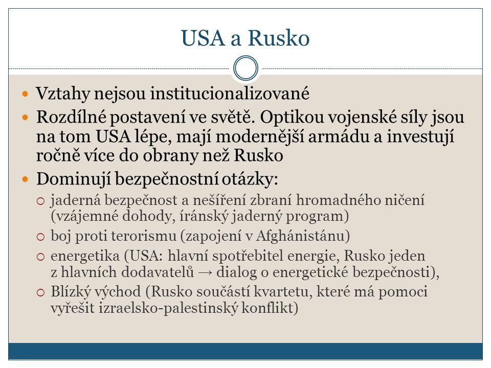 USA a Rusko Vztahy nejsou institucionalizované