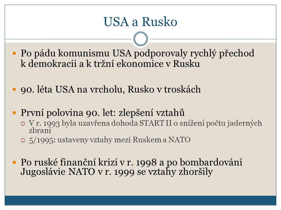 USA a Rusko Po pádu komunismu USA podporovaly rychlý přechod k demokracii a k tržní ekonomice v Rusku.