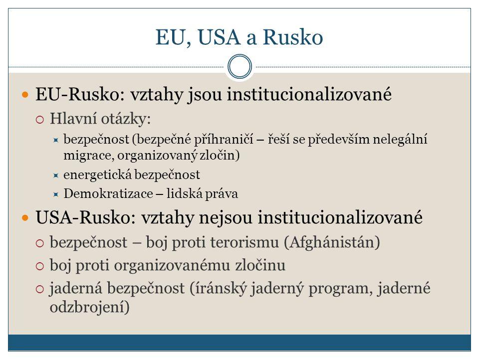 EU, USA a Rusko EU-Rusko: vztahy jsou institucionalizované