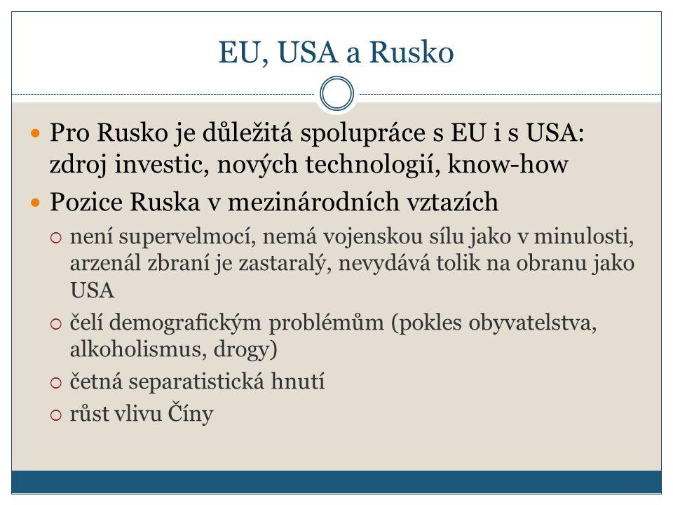 EU, USA a Rusko Pro Rusko je důležitá spolupráce s EU i s USA: zdroj investic, nových technologií, know-how.