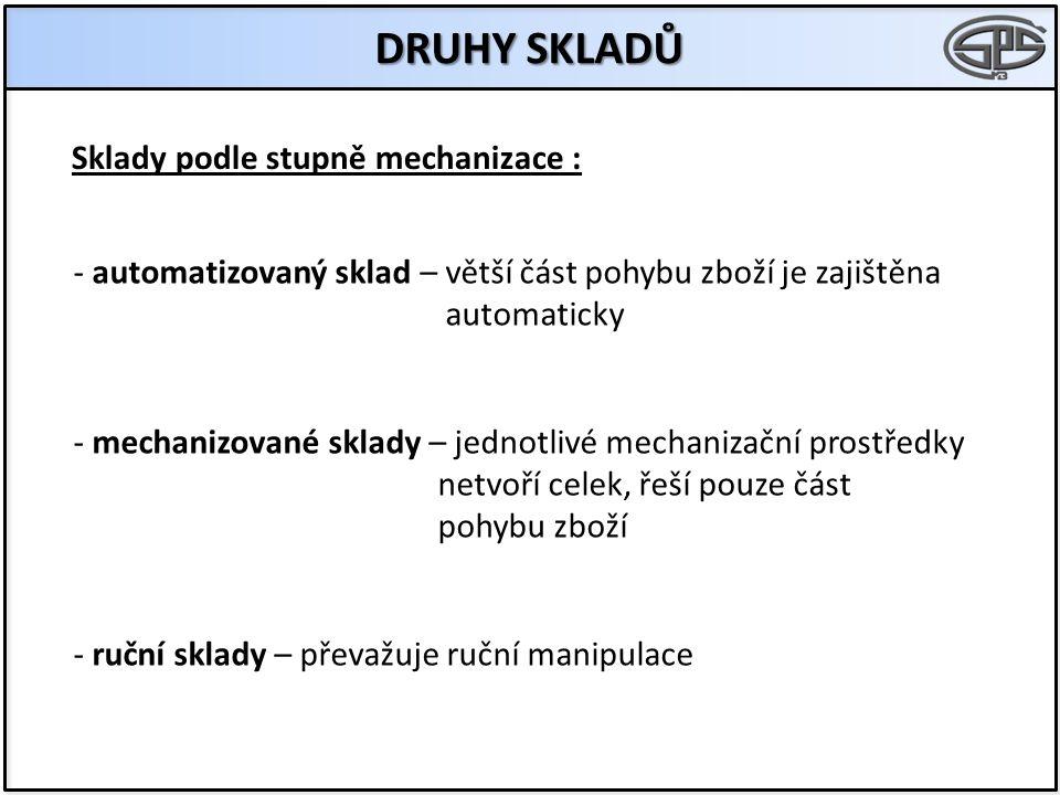 DRUHY SKLADŮ Sklady podle stupně mechanizace :