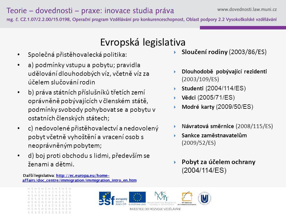 Evropská legislativa Sloučení rodiny (2003/86/ES)