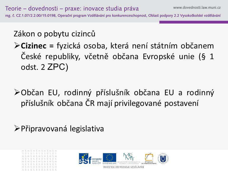 Zákon o pobytu cizinců Cizinec = fyzická osoba, která není státním občanem České republiky, včetně občana Evropské unie (§ 1 odst. 2 ZPC)