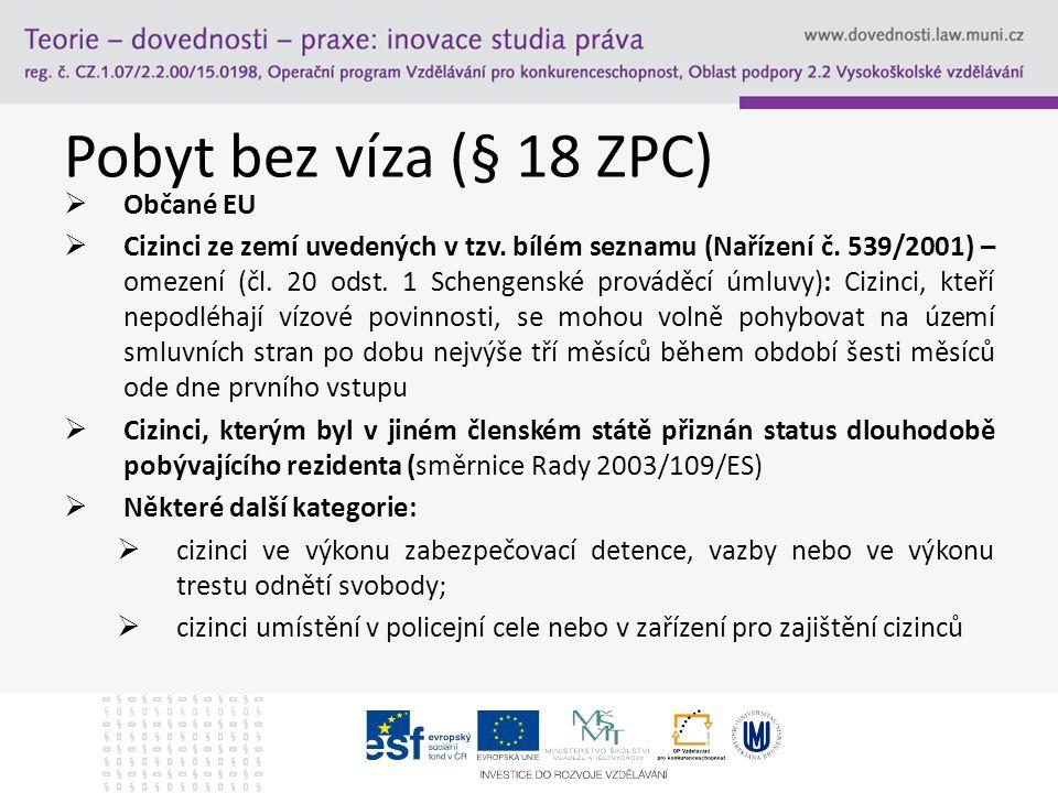 Pobyt bez víza (§ 18 ZPC) Občané EU