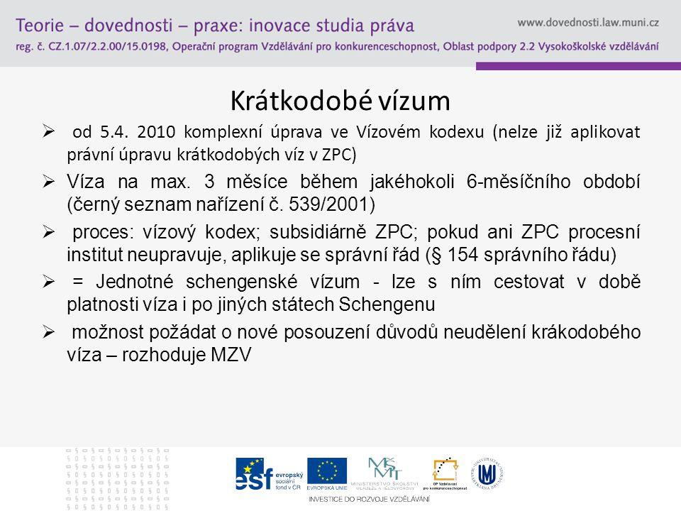 Krátkodobé vízum od 5.4. 2010 komplexní úprava ve Vízovém kodexu (nelze již aplikovat právní úpravu krátkodobých víz v ZPC)