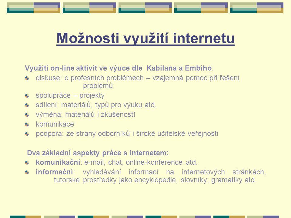 Možnosti využití internetu