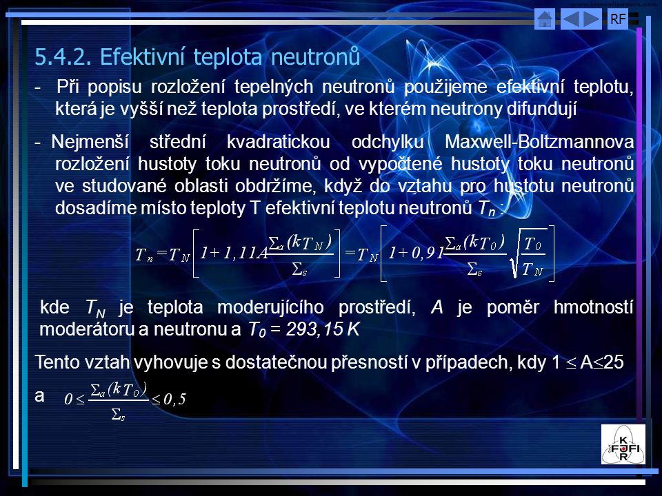 5.4.2. Efektivní teplota neutronů