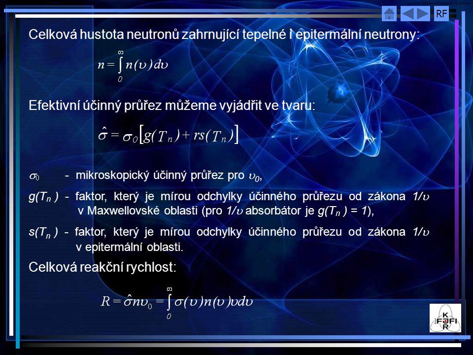 Celková hustota neutronů zahrnující tepelné i epitermální neutrony: