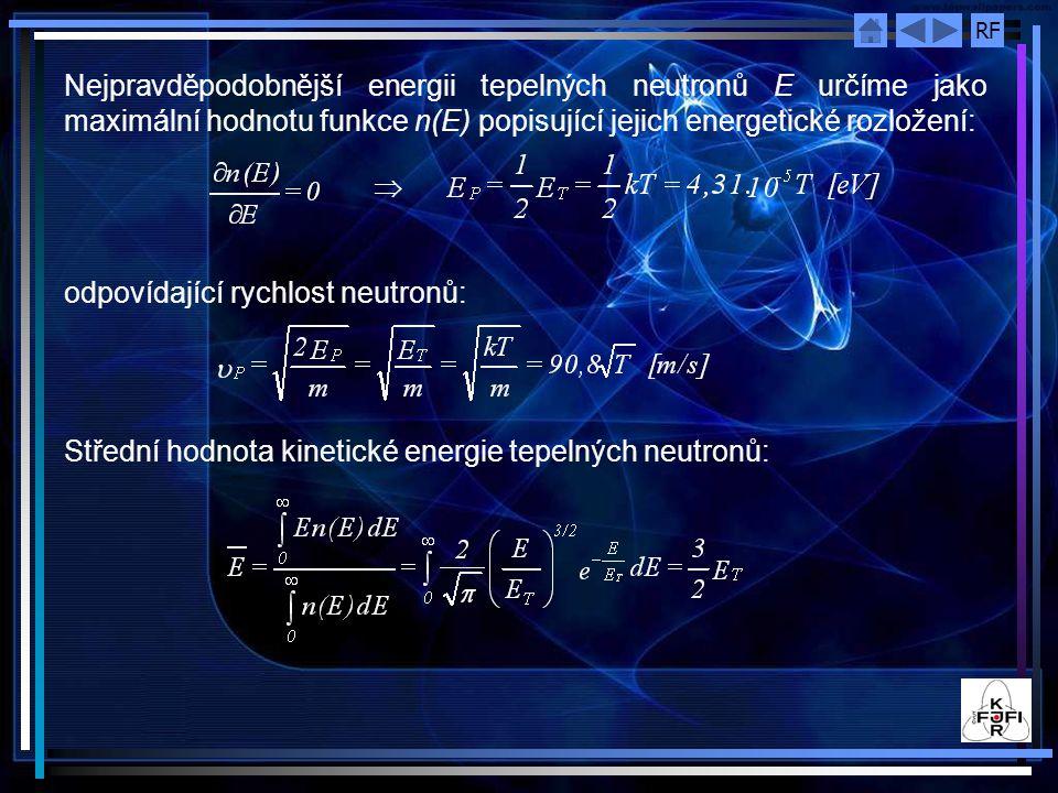 Nejpravděpodobnější energii tepelných neutronů E určíme jako maximální hodnotu funkce n(E) popisující jejich energetické rozložení: