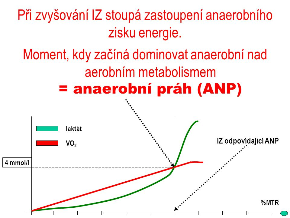 Při zvyšování IZ stoupá zastoupení anaerobního zisku energie.