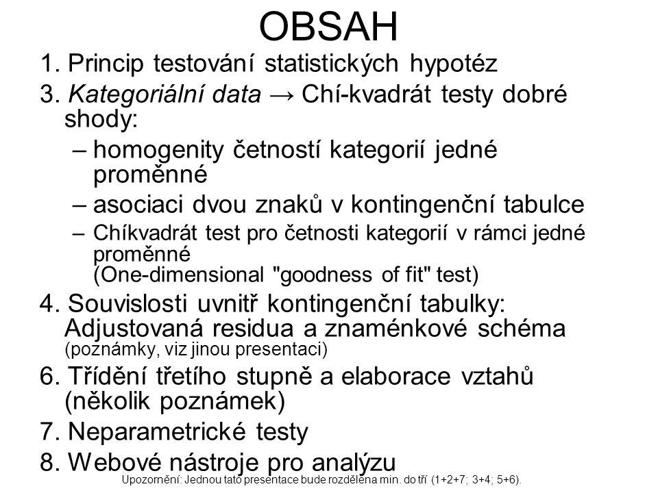 OBSAH 1. Princip testování statistických hypotéz