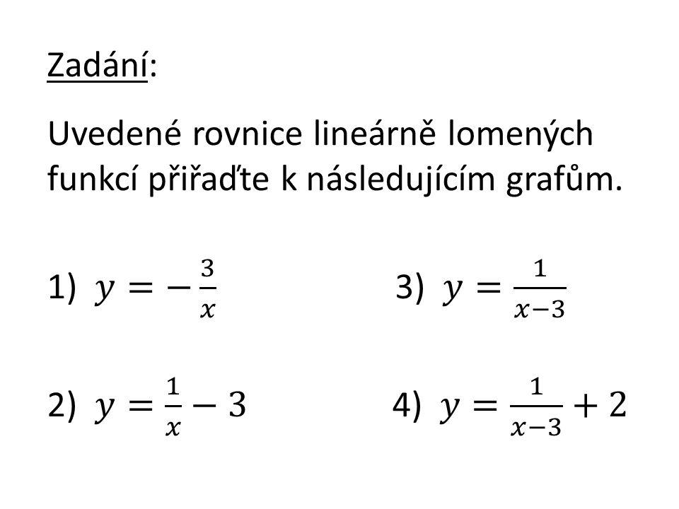 Zadání: Uvedené rovnice lineárně lomených funkcí přiřaďte k následujícím grafům.